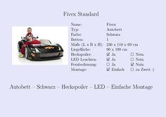 #Fivex #Kinderbett #Jungs #Auto #Schwarz #Heckspoiler