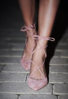 Andrea Kitten Heel in Blush by Jeffrey Campbell from Free People // Femme suede lace-up heels featuring a pointed toe design and a cute kitten heel.