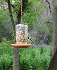 Mason Jar Bird Feeder Hand Crafted Outdoor Hanging por BootsNGus