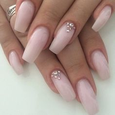 natural pink nails with rhinestones