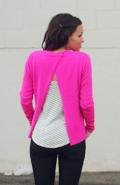 DIY open back sweater-----can turn grey shawl collar sweater into this. can also turn that wrap in with button