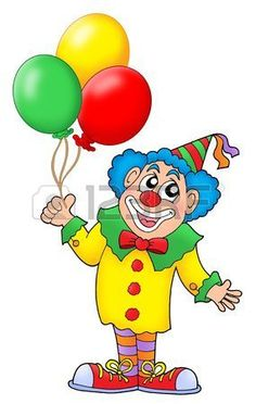 Clown with colorful balloons color illustration  Stock Illustration