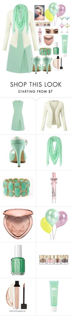 """Pastel green party look"" by cassieq6929 ❤ liked on Polyvore featuring LE3NO, Pinup Couture, Space Style Concept, Forever 21, Victoria's Secret, Too Faced Cosmetics, Essie, Smith & Cult, Origins and LSA International"
