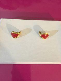 Gold Tone & Red Enamel Earrings by Monet