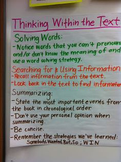 Anchor charts from literacy coach blog for thinking within, beyond, and about the text.