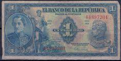 Colombia, One Peso Banknote, 1954. Santander & Simon Bolivar.