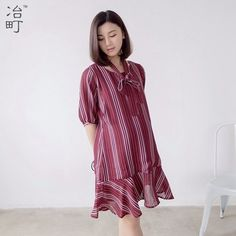 6f060c26aa9 Latest hide breastfeeding opening elegant mid sleeves casual chiffon dress  Pregnancy Outfits