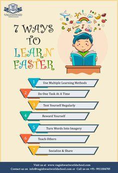 Vagishwari World School Tutoring Flyer, Preschool Classroom Decor, School Advertising, Student Of The Month, Brochure Cover Design, Learning Methods, Creative Poster Design, Learn Faster, E Mc2