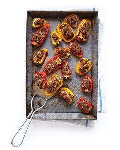 Stuffed-Pepper Bites - Martha Stewart  - uses the mini bell peppers with different types of stuffing