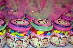 Using Baby Food Jars for favors, filled with banana runts. Pink Mod Monkey.