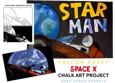 Draw Star Man and his Tesla cruising through space Art project & drawing guide