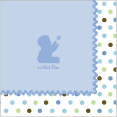 Our soft, durable 3-ply Tickled Blue luncheon napkins match the Tickled Blue Baby Shower theme. Measuring 13 inches square, they're sold in quantities of 16.
