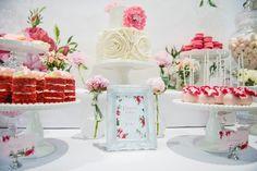 Pink Rose Dessert Table for a Christening via Kara's Party Ideas KarasPartyIdeas.com Printables, cake, decor, tutorials, recipes, favors, desserts, and more! #christeingparty #christening #pinkrose (9)