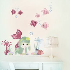 Mermaid Fabric Wall Stickers