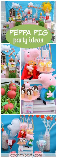 What a cute Peppa Pig party with kites, apples, and flowers! See more party… Third Birthday, 4th Birthday Parties, Birthday Party Decorations, Birthday Ideas, George Pig Party, Cumple Peppa Pig, Pig Birthday Cakes, Baby Party, Party Ideas