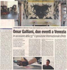 """Omar Galliani, due eventi a Venezia, """"Prima Pagina - Reggio Emilia"""", 29 maggio 2013, p. 34. Omar Galliani, due eventi a Venezia, """"Prima Pagina - Modena"""", 29 maggio 2013, p. 36."""
