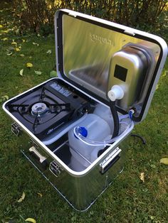 """The new """"Starter camping box is a high-quality all-aluminum box with 1 mm thick aluminum side walls, it measures 57 cm wide, 38 cm deep Kombi Motorhome, Car Camper, Mini Camper, Rv Campers, Camper Trailers, Campervan, Minivan Camping, Truck Camping, Camping Survival"""
