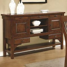 Sideboards And Buffets 183322 Coaster 106485 Abrams Truffle Finish Server With 5 Drawers And 2