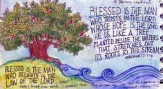 Art Journal Bible Verses | peggy aplSEEDS: Blessed Is the Man: Prayer Journal Illustration