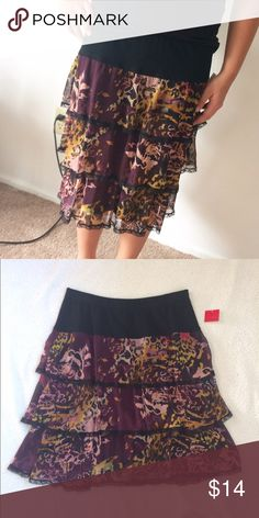 "Pretty 3 tier skirt! Brand new with tags. Size M Black lace after each tier! So pretty!!! Waist is 14"" length is 21"" cristina Skirts Midi"