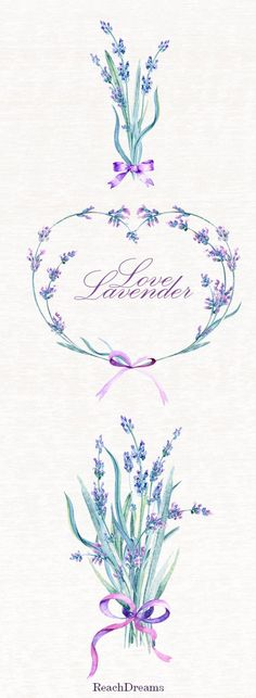 Lavender Watercolour Bouquets & Wreath Clipart. Hand painted