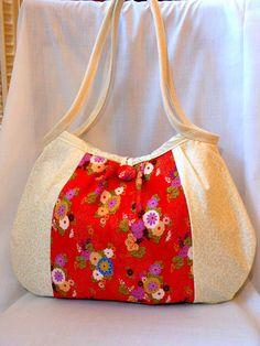 Japanese Fabric Bag Kimono Bag Floral Purse Hobo Bag Medium Handbag Authentic Japanese Kimono fabric Red Chrysanthemums Beige In Stock. $58.00, via Etsy.