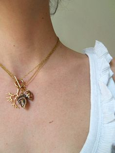 "gold seaweed and shell necklace ""Siren"" necklace by Douce-Amer"
