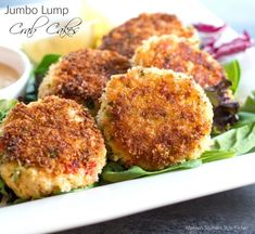 These crispy golden Jumbo Lump Crab Cakes are chock-full of flavor and worth every penny. Serve them on date night or with steaks as a surf-n-turf meal. Crab Cake Recipes, Fish Recipes, Seafood Recipes, Cooking Recipes, Seafood Appetizers, Crab Dishes, Seafood Dishes, Fish And Seafood, Seafood Platter