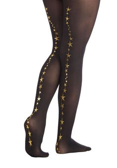 Betsey Johnson Shoot for the Stars Tights by Betsey Johnson - Sheer, Knit, Black, Gold, Best, Novelty Print