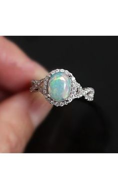 Glitzs Jewels 925 Sterling Silver Created Opal Ring Jewelry Gift for Women Blue