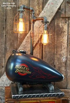 """Steampunk Industrial Lamp, Vintage Harley Davidson Motorcycle Gas Tank <a class=""""pintag searchlink"""" data-query=""""%23316"""" data-type=""""hashtag"""" href=""""/search/?q=%23316&rs=hashtag"""" rel=""""nofollow"""" title=""""#316 search Pinterest"""">#316</a>"""