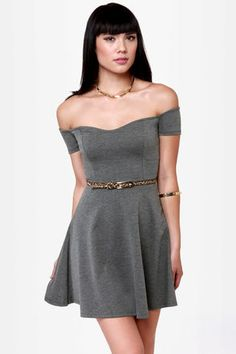 By the Book Grey Off-the-Shoulder Dress ($35.50)
