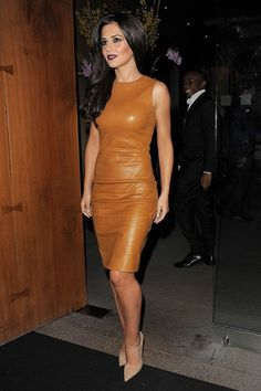 Cheryl Cole wore a tan leather dress by The Row with Jimmy Choo nude stiletto heels to attend a dinner at Zuma in honour of Girls Aloud band member Kimberley Walsh's 31st birthday.