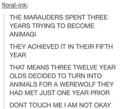 We need books on the Marauders! Seriously!