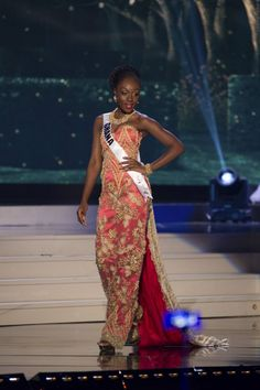 Abena Appiah, Miss Ghana 2014 competes on stage in her evening gown during the Miss Universe Preliminary Show in Miami, Florida on January 21, 2015.