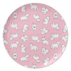 Pink Westies Melamine Plate by Circus Dog Industries