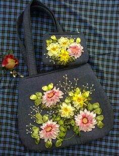 Wonderful Ribbon Embroidery Flowers by Hand Ideas. Enchanting Ribbon Embroidery Flowers by Hand Ideas. Ribbon Embroidery Tutorial, Embroidery Bags, Silk Ribbon Embroidery, Embroidery Patterns, Embroidery Supplies, Ribbon Art, Ribbon Flower, Christmas Ribbon, Embroidery For Beginners
