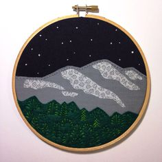 Mountains & Stars hand embroiderd scene   #embroidery #hoopart #mountains #trees #stars