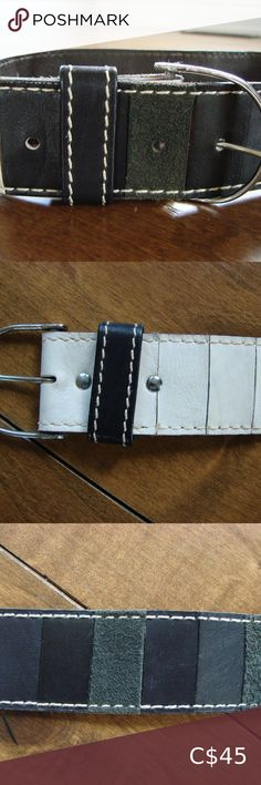 Vintage Vera Leather & Suede Gray Black White Belt Vintage Vera Leather & Suede Gray Black White Geometric Belt ~ Size Small Here is a rare and unique vintage belt made by Vera Neumann and probably from the 1970s. The belt looks to be made of leather and suede but I'm not sure if it's real leather. It is marked Vera. This belt is in very good condition for its age. There is some slight staining to the white/cream parts that are hardly noticeable. Belt is in excellent condition otherwise…