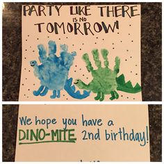 Dinosaur handprint birthday card