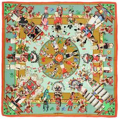 """HERMES SCARF Silk """"Kachinas"""" by Kermit Oliver Vintage 90cm Carre 100% Auth by EXANYC on Etsy https://www.etsy.com/listing/227676908/hermes-scarf-silk-kachinas-by-kermit"""