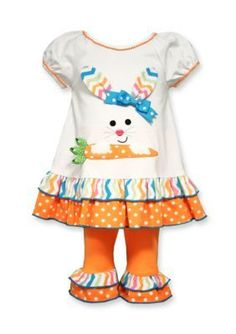 Bonnie Jean  2-Piece Bunny Face Carrot Tunic and Legging Set Toddler G