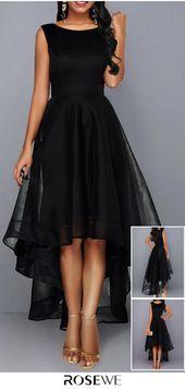 Sleeveless High Waist Mesh Patchwork Black Dress – Diet and Slimming Simple Dresses, Elegant Dresses, Pretty Dresses, Beautiful Dresses, Casual Dresses, Fashion Dresses, Evening Dresses, Prom Dresses, Dance Dresses