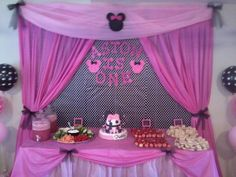 minnie mouse party backdrops | ... Minnie Mouse birthday party. 1st birthday. Cake table backdrop