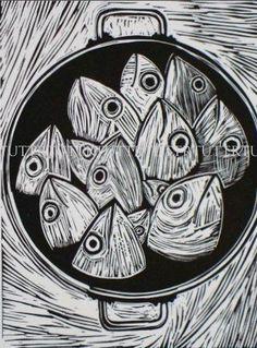 fish linocut print
