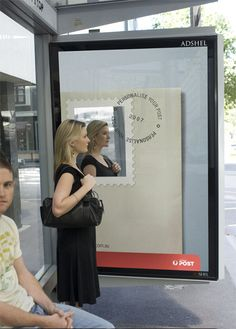 Australia Post Advertisement puts a mirror on a card so you see yourself on the stamp inspiring you to get this! Clever! Australia Post: Bus stop advertisement http://www.arcreactions.com/