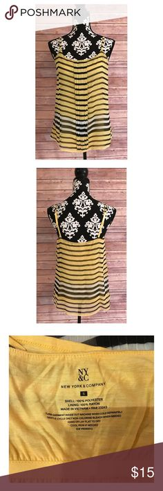 NEW YORK & CO Black & Yellow Striped Tank Top Black, white and yellow striped tank top by NY&CO! Never worn but no tags attached. Loose fitting! Has a thin built in bra. Please let me know if you have any questions prior to purchasing! 🤗💕 New York & Company Tops Tank Tops