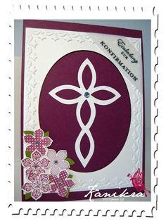 Einladung zur Konfirmation Stampin` Up! - Invitation Christening, Elegantes Gitter, Petite Petals, Framed Tulips, Lattice Bigz