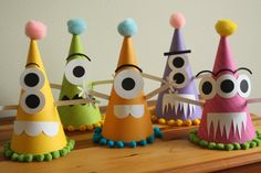 Super fun monster party hats! made by me! corinacorinaa on etsy!