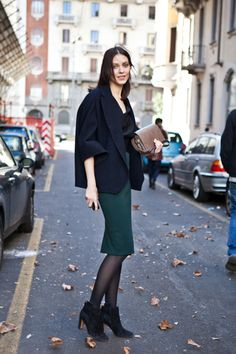 Navy + hunter green, and a deceptively simple, loosely draped jacket.